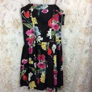 American Living Black Floral fit & flare dress 12